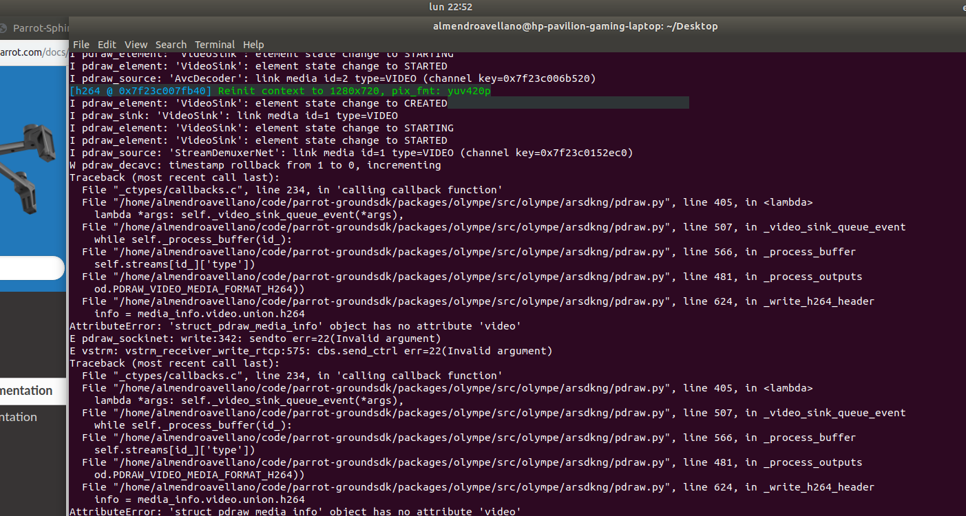 Getting video stream to Olympe (Python) - Olympe - Parrot