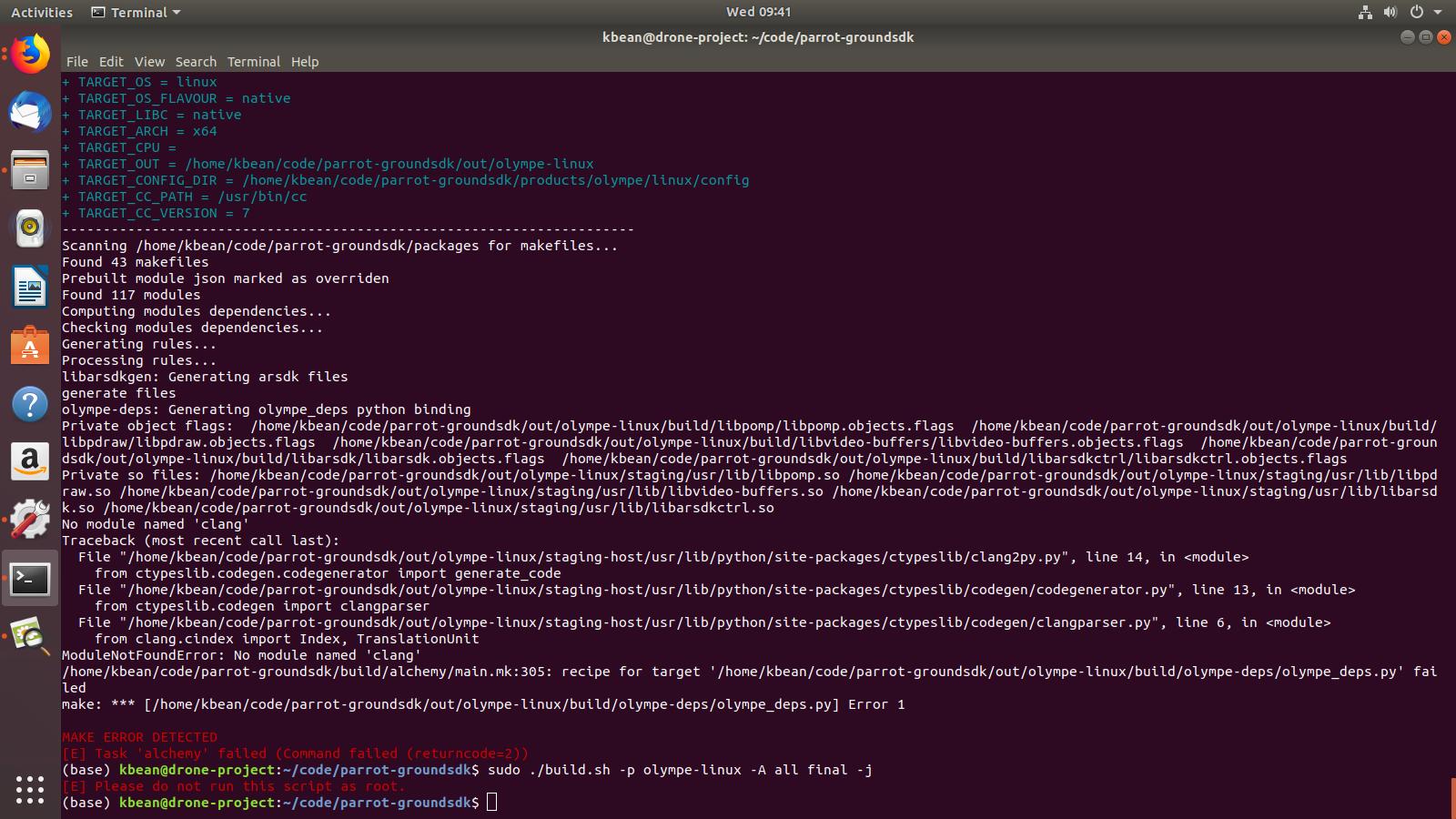 Error building olympe-linux (